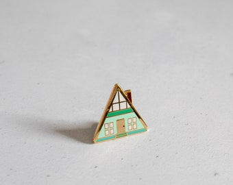 A-frame house pin - enamel pin - lapel pin - new house gift - House pin - Cabin pin - Mid Century modern - Cabin gift - tiny house