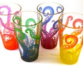 Octopus Tentacles - Pint Glasses - Set of 4 - Etched and Painted Glassware - Custom Made to Order