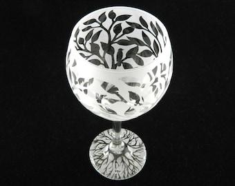 Tree of Life Wine Glass - Nature Design - Bird on a Tree Branch - Etched Glass Stemware - Custom Barware