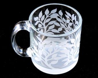 Tree of Life Coffee Mug - Nature Design - Bird on a Tree Branch - Etched Glass Mug