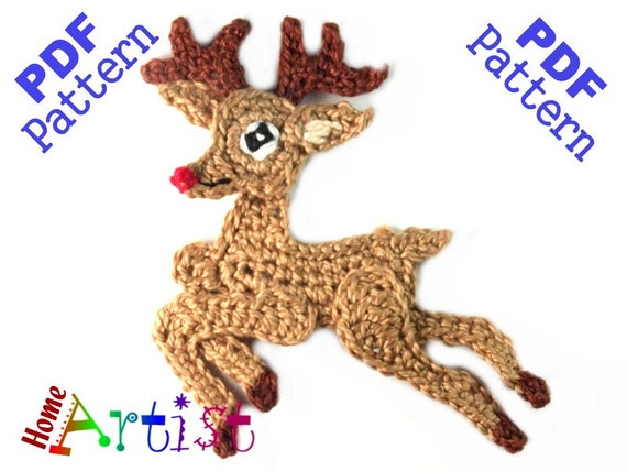 Xmas Reindeer Crochet Applique Pattern | Etsy