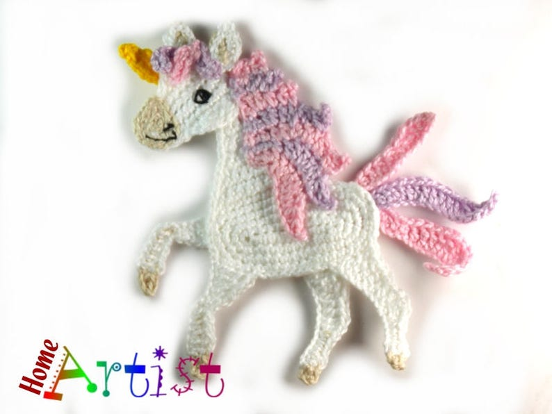 Crochet applique cavallo o unicorno etsy