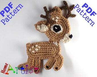 Reindeer Crochet Applique Pattern