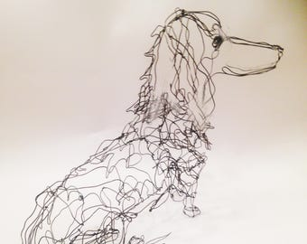 Dachshund-Wire Dog Drawing Sculpture Art-Long or Short Hair