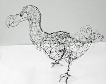 Dodo Bird-Wire Drawing Sculpture art