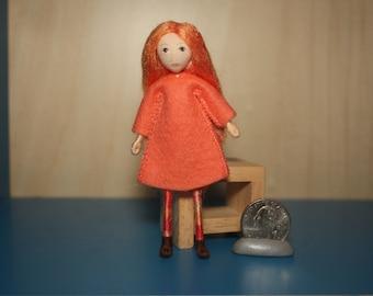 Little Felt Friend doll in coral dress