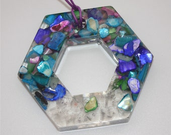 PENDANT NECKLACE Hexagon Handmade with Natural Stones in Resin
