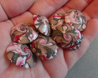 Lentil BEADS Pink and Brown Swirl Handmade with Polymer Clay