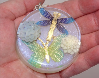 PENDANT NECKLACE Butterfly Dragonfly and Flowers, Resin Handmade