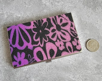 Purple Pink and Black Floral Business Card Holder - HANDMADE by BPW