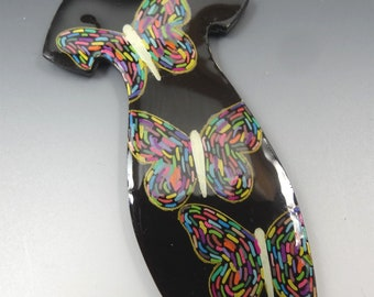 PENDANT NECKLACE Black Dress HANDMADE Shrink Plastic with Butterflies