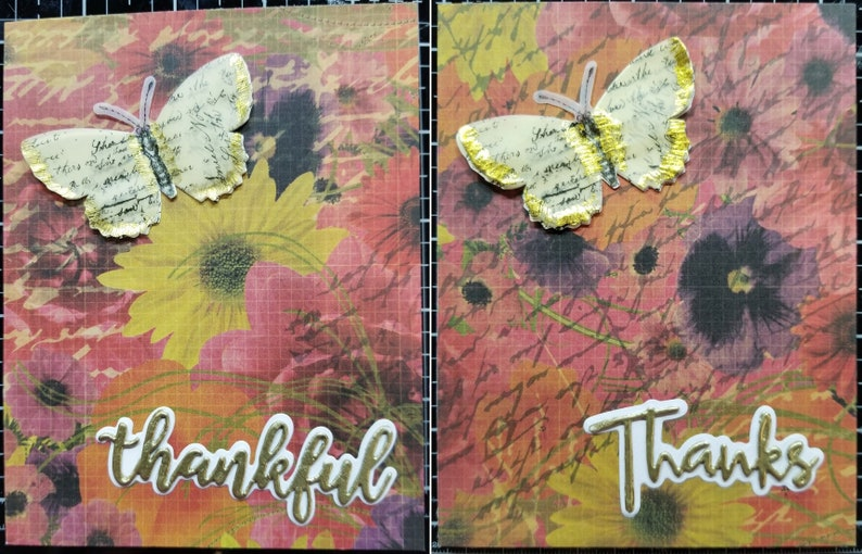 Thank You Cards HANDMADE Set of 4 Orange with butterfly and blank inside Set 5