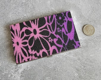 Pink and Purple and Black Floral Textured Business Card Holder - HANDMADE by BPW