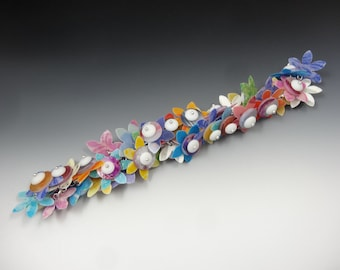 BRACELET 3 choices - Full cha-cha style LEI Flowers - Handmade