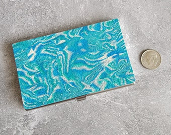 Marbled Turquoise Blue and White Business Card Holder - HANDMADE by BPW
