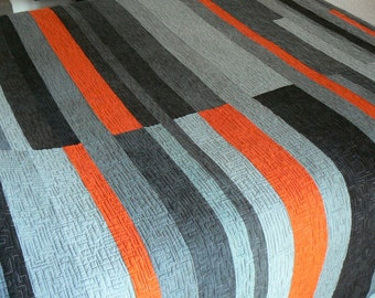 Shades of Grey with Orange Stripe Mid-Century Inspired Quilt - Made to Order