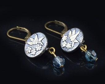 Antique button earrings Vintage button earrings Floral earrings Antique earrings Vintage earrings