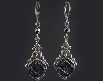 Antique button earrings Antique earrings Vintage button earrings Vintage earrings Black glass earrings Art deco earrings Assemblage earrings