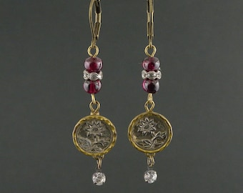 Antique earrings Antique button earrings Vintage earrings Vintage button earrings Assemblage earrings