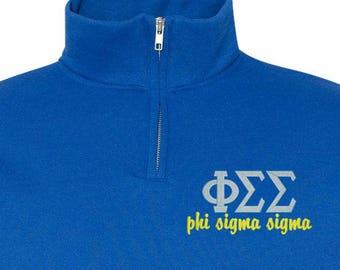 Phi Sigma Sigma Phi Sigma Sigma quarter Zip Phi Sig sweatshirt Phisig Shirt Greek gift sorority gift back to school college gift