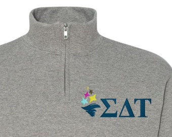 Sigma Delta Tau, SDT, Sigma Delta Tau Quarter Zip, SDT fleece, Greek sweatshirt, sdt quarter zip, SDT sweatshirt, sorority sweatshirt