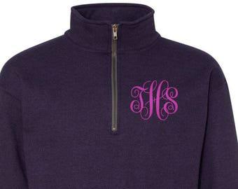 Monogrammed Quarter Zip Sweatshirt,Monogram Quarter Zip, Monogrammed Quarter Zip Fleece,Monogrammed Quarterzip,Monogram fleece, Gift for her
