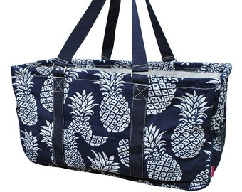 47b84a3db323 Personalized Navy Pineapple Utility Tote - Collapsible Tote Basket -  Embroidered Utility Tote - Market Tote Bag - Monogrammed Utility Tote