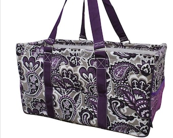 3cb59db0da65 Purple Paisley Utility Tote - Collapsible Tote Basket - Personalized Tote -  Market Tote Bag - Monogram Utility Tote - Embroidery - Large