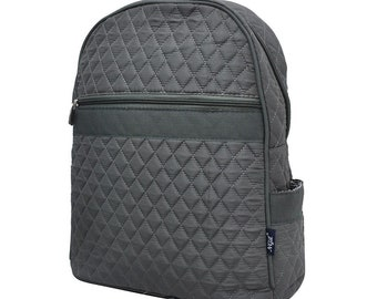 Gray Backpack - Monogram Backpack - Diaper Bag Backpack - Embroidery - Gift  -Quilted Backpack 3fb7a6259fb60