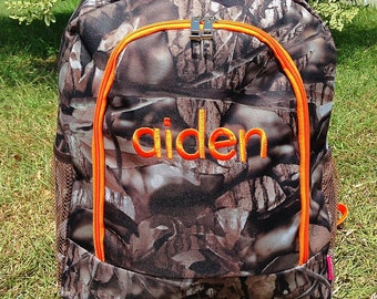 SALE Orange Camo Backpack Monogrammed Name or Initials of Your Choice