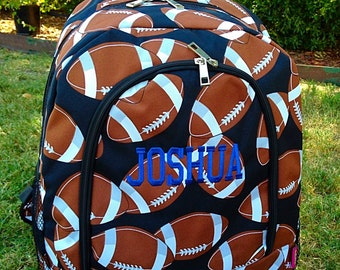 SALE Football Backpack or Diaper Bag Monogrammed Name or Initials of Your Choice
