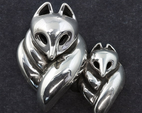 21st Century Fox Collection© Mother Fox and Kit Pin by Cavallo Fine Jewelry