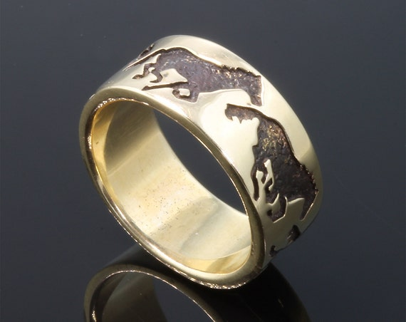 Handmade 14K Yellow Gold 4 stages of gallop ring, equestrian gift, unisex jewelry, heavy band, horse gaits, hoof beats
