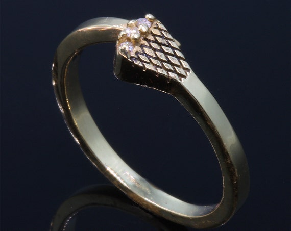 14K Gold and Diamond Horse Shoe Nail Ring by Cavallo Fine Jewelry