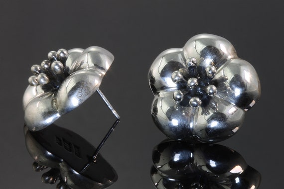 Sterling Silver Vintage Mexico CIL Hibiscus Flower Earrings