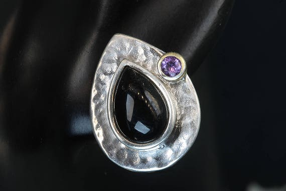 Sterling Silver Vintage Earrings with Pear Shaped Onyx and Amethyst