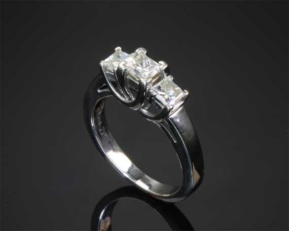 14K White Gold Vintage Three Princess Cut .60 tcw Diamond Ring