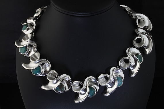 Handmade statement sterling silver and turquoise link necklace, made by hand, artisan fine jewelry, by Cavallo Fine Jewelry