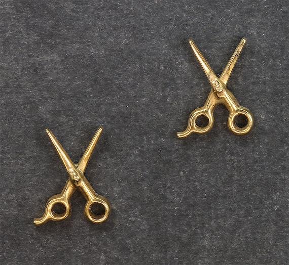Scissor Earring Studs in 14K Gold by Cavallo Fine Jewelry