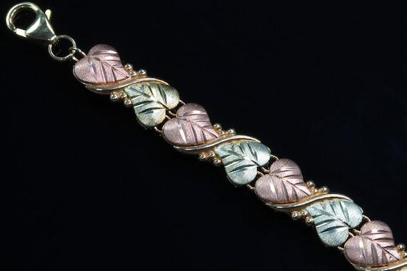 Black Hills Gold 10K yellow and rose gold leaf bracelet, floral, feminine gift for her