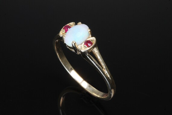 Vintage dainty 14K yellow gold opal ruby ring, Octobers birthstone, feminine womans fashion, sweet colorful bright, great play of color
