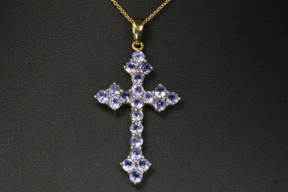 "Sterling silver gold plated tanzanite gemstone cross 18"" chain included, violet, purple lover, great gift idea"