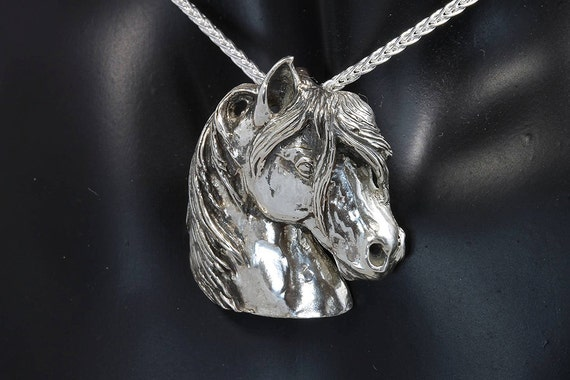 Sterling Silver Arabian Horse Head Pendant by Cavallo Fine Jewelry