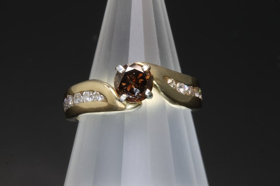 Vintage Cognac Diamond Engagement Ring, chocolate brown gemstone, unique right hand ring conversation starter gift for her