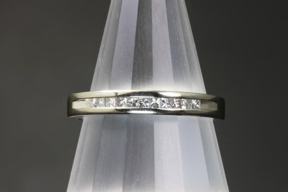 14K White Gold Vintage Princess Cut Diamond Ring