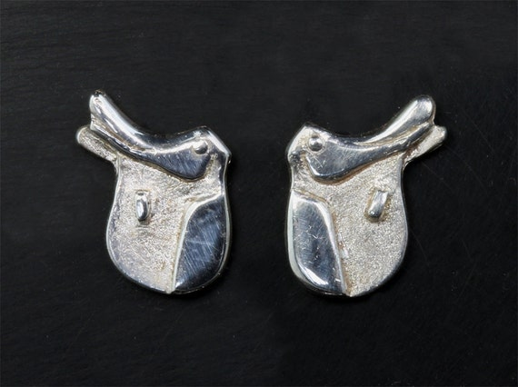 Dressage Saddle Earrings in Sterling Silver by Cavallo Fine Jewelry