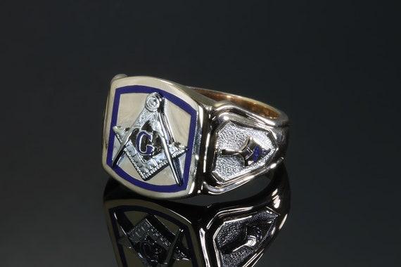 Vintage Grand Master Mason 14KY blue enamel mens ring, masonry, freemasonry, fraternal, guild, mens jewelry