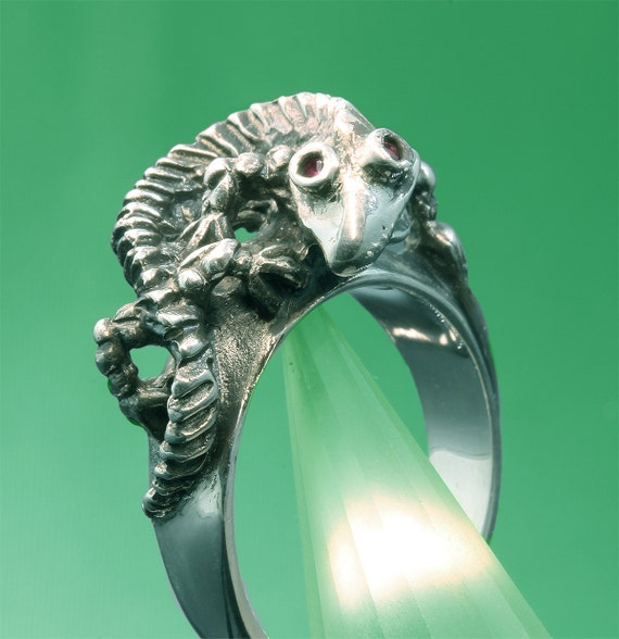 Sterling SIlver Lizard Ring with Ruby Eyes by Cavallo Fine Jewelry