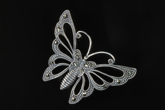 Sterling Silver vintage marcasite butterfly brooch, FAS hallmark, feminine, great gift for butterfly lover, womans jewelry retro pin