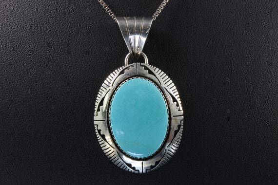 Vintage Sterling Silver and Turquoise Bruce Wood Pendant